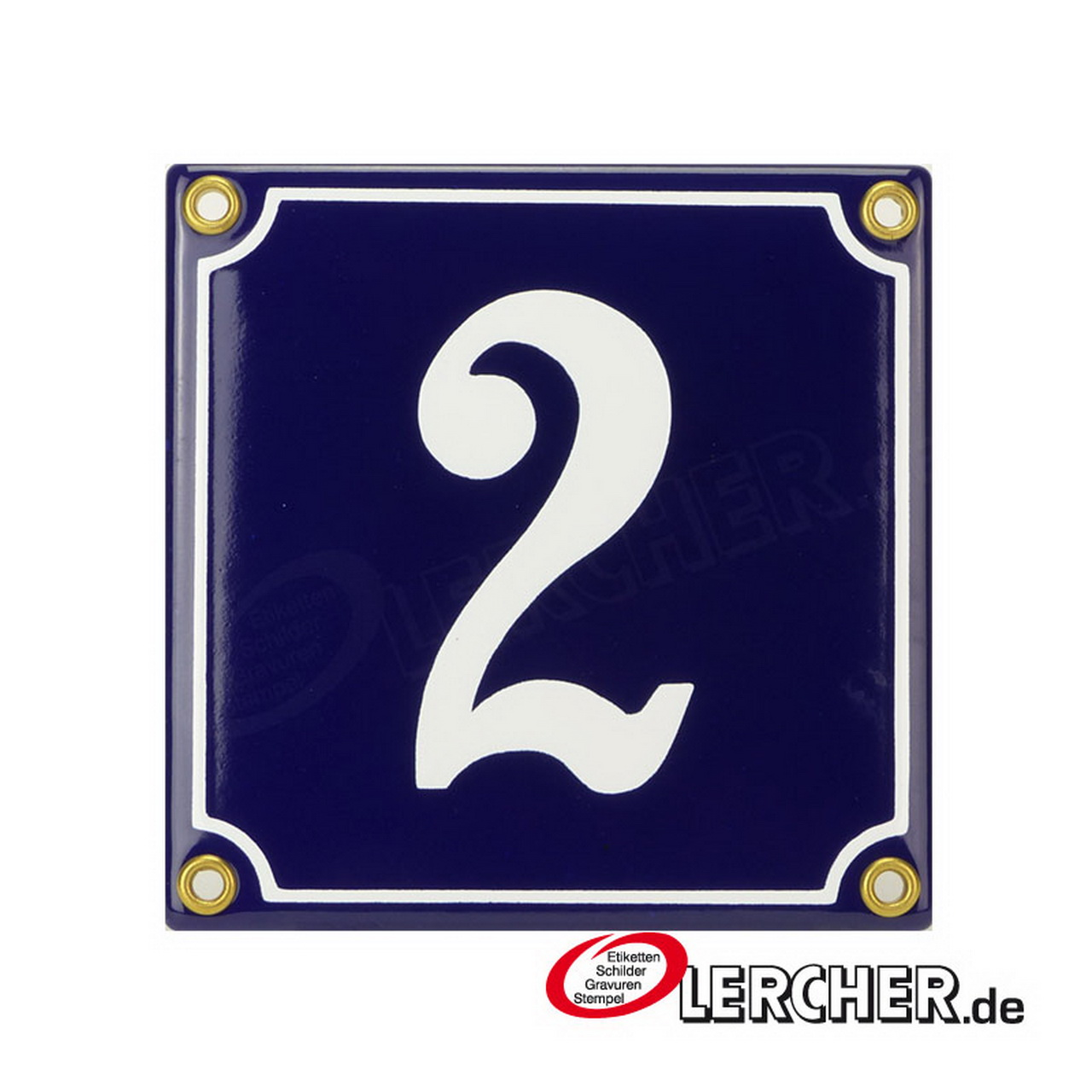 Emaille Schild Hausnummer 55 Blau-Wei/ßHandarbeit